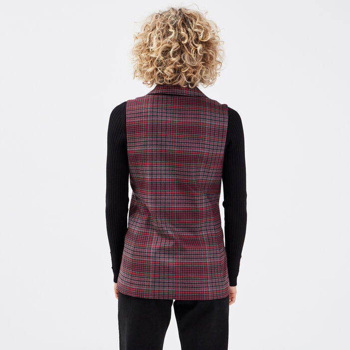 Veste droite sans manches rouge femme
