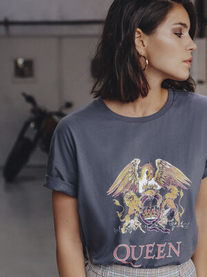 T shirt manches courtes Queen gris fonce femme