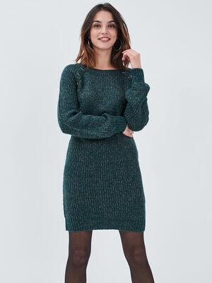 Robe pull droite vert fonce femme