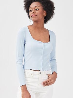 Gilet boutonne manches longues bleu pastel femme