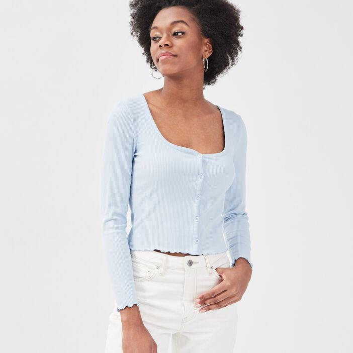 Gilet boutonné manches longues bleu pastel femme