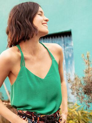 Debardeur bretelles fines vert emeraude femme