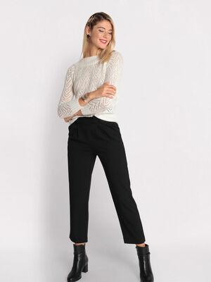 Pantalon paperbag avec boutons noir femme