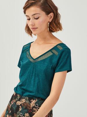 T shirt manches courtes vert canard femme
