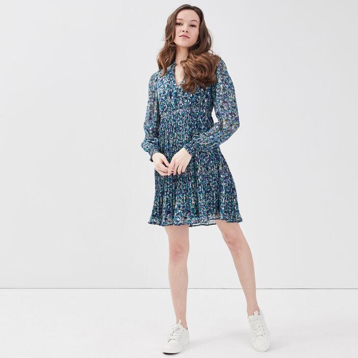 Robe évasée manches longues bleu femme