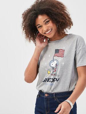 T shirt manches courtes Snoopy gris clair femme
