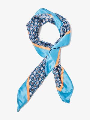 Foulard carre bleu femme