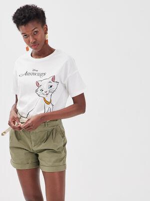T shirt Les Aristochats ecru femme