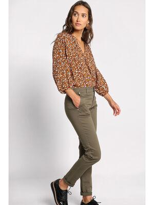 Pantalon chino a ourlets vert kaki femme