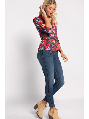 Jeans skinny bandes sporty denim stone femme