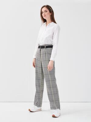 Pantalon large ceinture noir femme