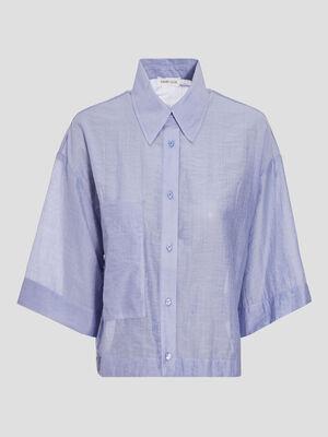 Chemise manches 34 bleu pastel femme