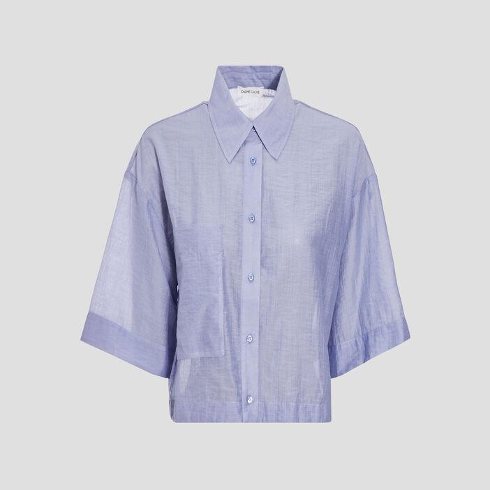 Chemise manches 3/4 bleu pastel femme