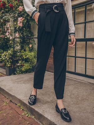Pantalon paperbag fluide noir femme
