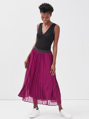 Jupe longue evasee plissee violet fonce femme