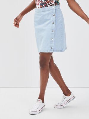 Jupe trapeze boutonnee en jean denim bleach femme