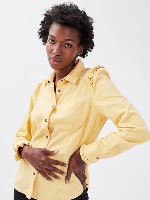 Chemise manches longues jaune clair femme