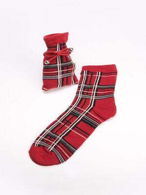 Chaussettes avec pochon rouge femme