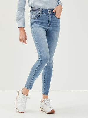 Jeans skinny details rivets denim double stone femme