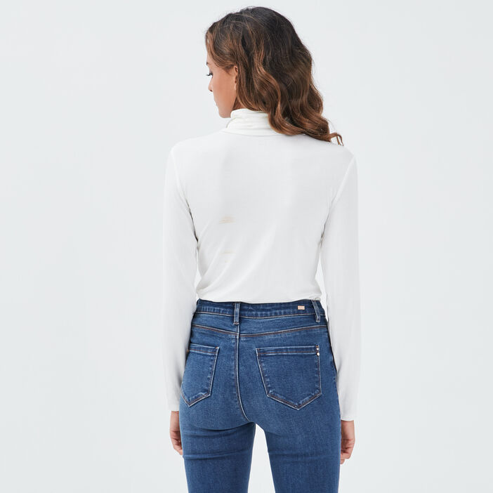 T-shirts uni à manches longues ecru femme