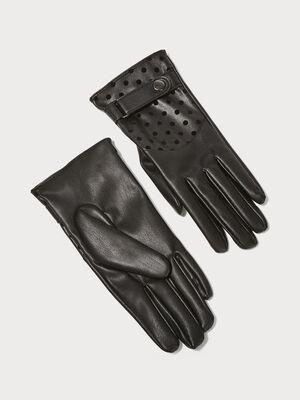 Gants avec pattes boutonnees noir femme