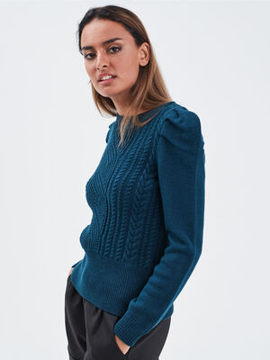 Pull avec details torsades bleu petrole femme