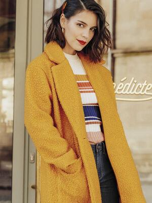 Manteau droit col crante jaune moutarde femme