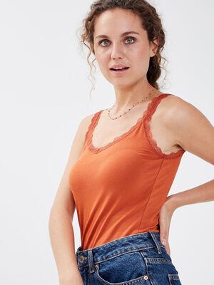 Debardeur liseres dentelle orange fonce femme