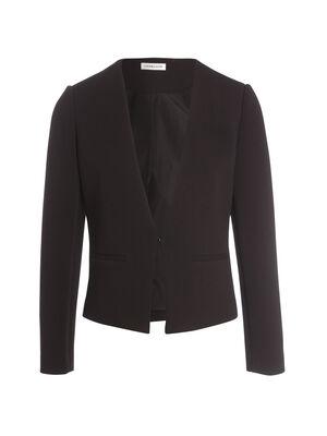 Veste cintree col en V noir femme