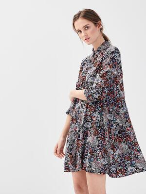 Robe chemise manches 34 noir femme