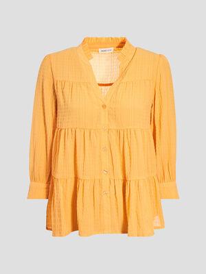 Blouse manches 34 orange clair femme