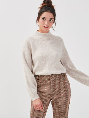 Pull manches bouffantes sable femme