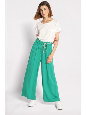 Pantalon fluide elastique vert emeraude femme