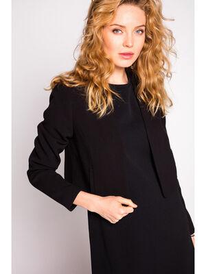 Veste courte crepe unie noir femme