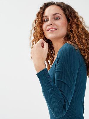 T shirt manches longues cotele bleu canard femme