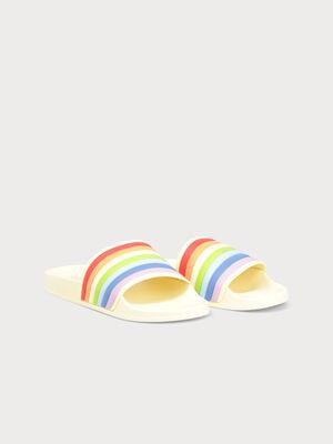 Sandales plagettes plates jaune pastel femme