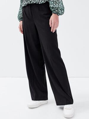 Pantalon city large noir femme