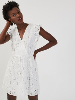 Robe droite broderie anglaise ecru femme
