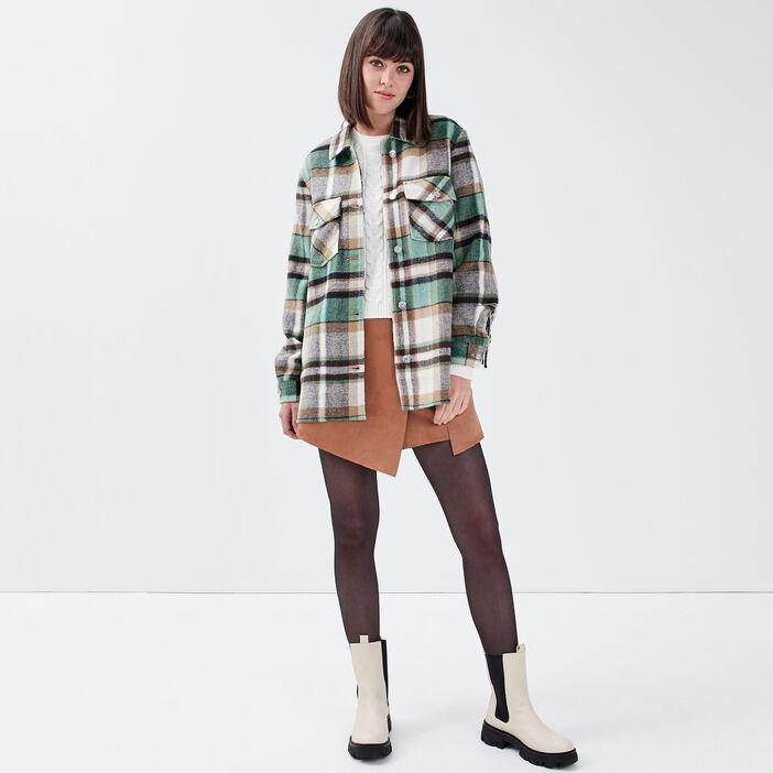 Jupe-short droite suédée marron clair femme