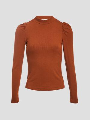T shirt manches longues cotele marron cognac femme