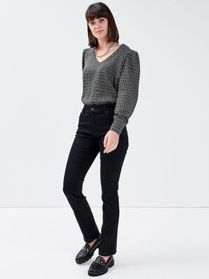 Jeans regular taille haute denim noir femme