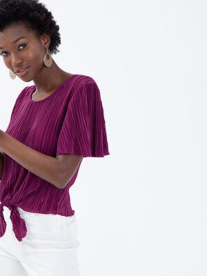 T shirt manches courtes plisse violet fonce femme