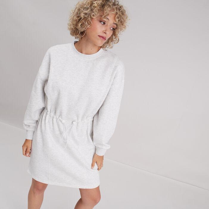 Robe droite taille à coulisse gris clair femme