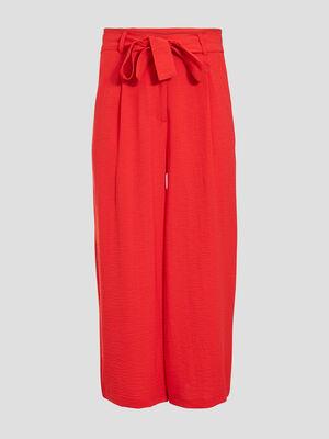 Pantalon large ceinture rouge fluo femme
