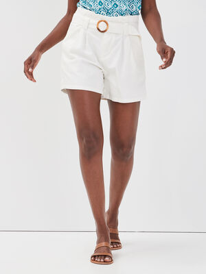 Short droit ceinture ecru femme