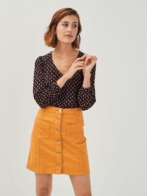 Jupe droite boutonnee en jean jaune moutarde femme