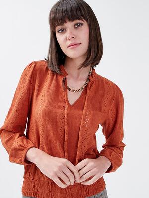 T shirt manches longues smocke marron cognac femme