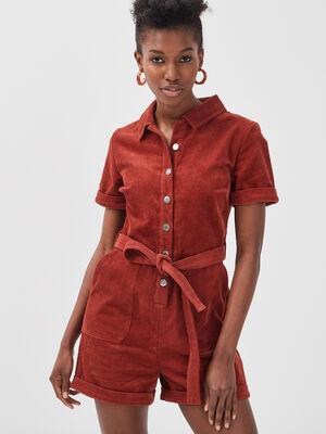 Combishort ceinture velours rouge fonce femme