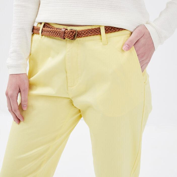Pantalon chino ceinturé jaune clair femme