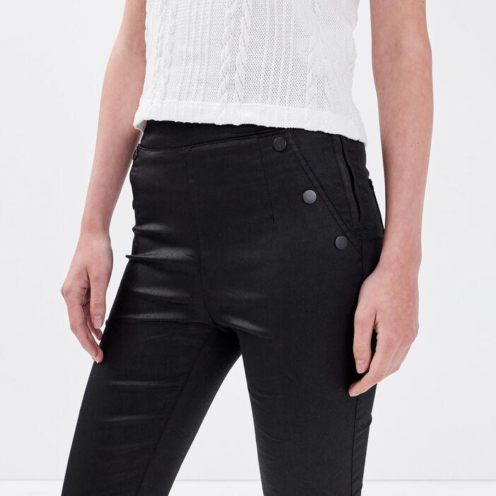 Jeans skinny enduit denim noir enduit femme